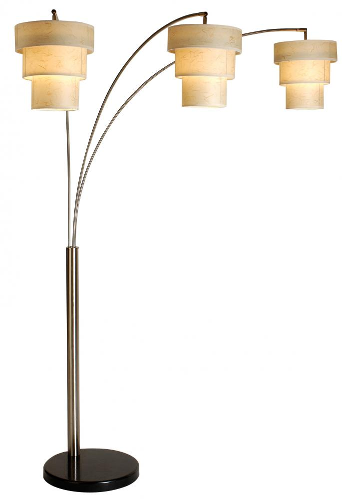 three light brushed nickel 3 tier bone kinwashi shade floor lamp. Black Bedroom Furniture Sets. Home Design Ideas