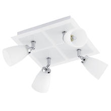 Eglo 91782A - 4x33W Square Ceiling Track Light w/ chrome & White Finish & White Glass