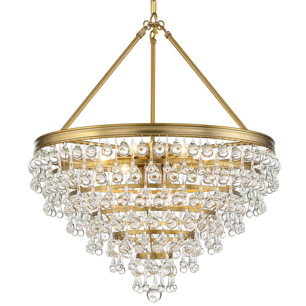 Crystorama Calypso Light Crystal Teardrop Vibrant Gold Chandelier - Chandelier crystals teardrop