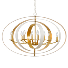 Crystorama 588-MT-GA - Crystorama Luna 8 Light Matte White & Antique Gold Chandelier