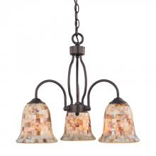 Elk Cornerstone 1703CH/10 - Three Light Oil Rubbed Bronze Mosaic Glass Down Chandelier
