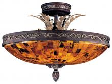 Minka Metropolitan N6520-468 - Cattera Bronze Pen Shell Glass Bowl Semi-Flush Mount
