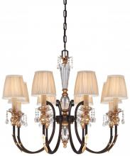 Minka Metropolitan N6648-258B - Eight Light French Bronze With Gold Leaf Highlights Pleated Champagne Shade Up Chandelier