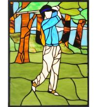"Meyda Tiffany 106967 - 10.5""W X 13.5""H Golf Stained Glass Window"