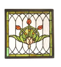 "Meyda Tiffany 81296 - 10.5""W X 10.5""H Tulip & Fleurs Stained Glass Window"