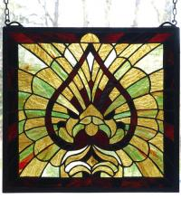 "Meyda Tiffany 98082 - 15""W X 14""H Victorian Spade Stained Glass Window"