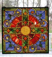 "Meyda Tiffany 98084 - 20""W X 20""H Medieval Cross Stained Glass Window"