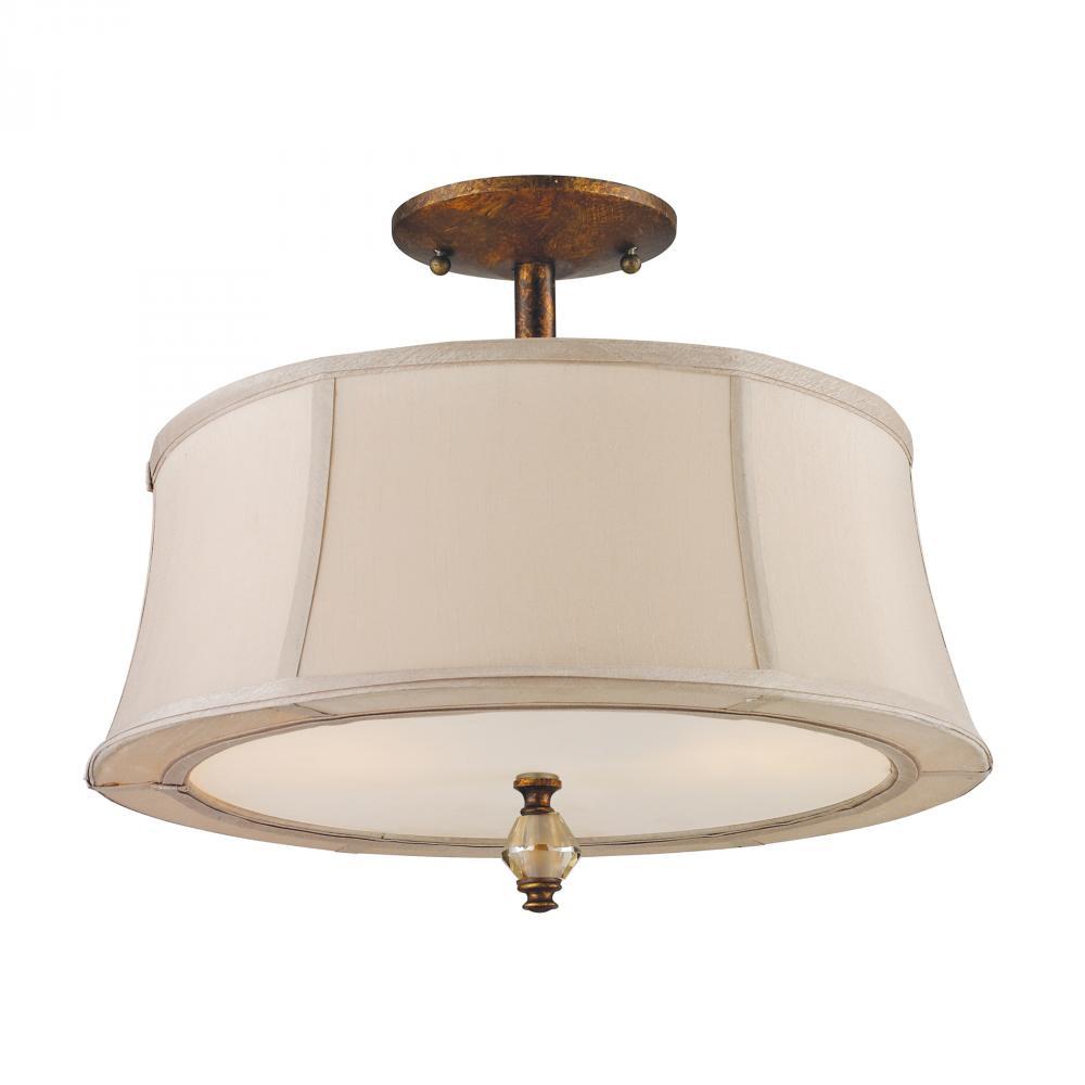 811cff09231d Two Light Spanish Bronze Drum Shade Semi-Flush Mount   11331 2 ...